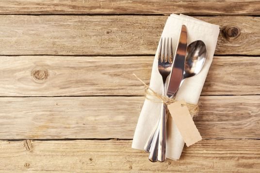 Cutlery on wood table